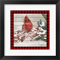 Framed Winter Red Bird III