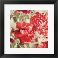 Framed Red Modern Peonies II