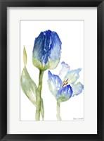 Framed Teal and Lavender Tulips I