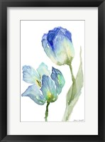 Framed Teal and Lavender Tulips III