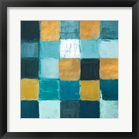Framed Teal and Gold Rural Facade II