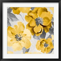 Framed Yellow and Gray Floral Delicate I