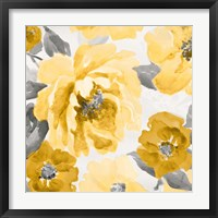 Framed Yellow and Gray Floral Delicate II