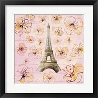 Framed Golden Paris on Floral I