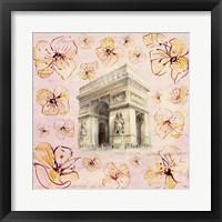 Framed Golden Paris On Floral II