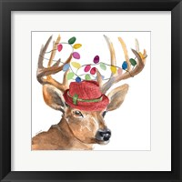 Framed Christmas Light Reindeer Hat