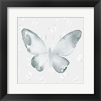Framed Grey Watercolor Butterflies I