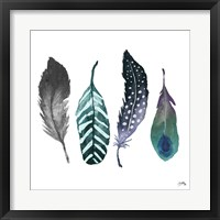 Framed Indigo Feathers