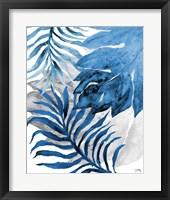 Framed Blue Fern and Leaf II