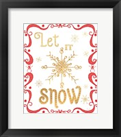 Framed Gold and Red Christmas I