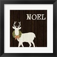 Framed Wooden Deer with Wreath I