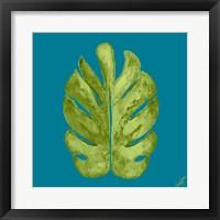 Framed Leaf On Teal I