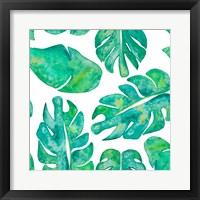 Framed Aqua Leaves On White