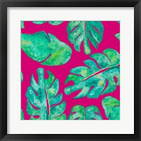 Framed Aqua Leaves On Pink