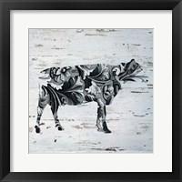 Framed Filigree Cow on Wood