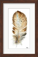 Framed White Watercolor Feather II