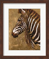 Framed Gold Zebra