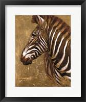 Framed Gold Zebra
