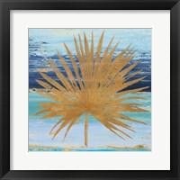 Framed Gold and Teal Leaf Palm I