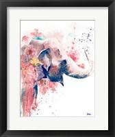 Framed Floral Water Elephant