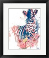 Framed Floral Watercolor Zebra