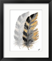 Framed Two Watercolor Feathers