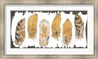 Framed Gold Watercolor Feathers