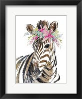 Framed Whimsical Water Zebra