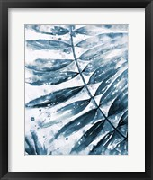 Framed Blue Jungle Leaf II