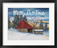 Framed Merry Christmas Barn
