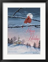 Framed Happy Holiday Cardinal