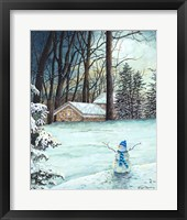 Framed Snowman in Moonlight