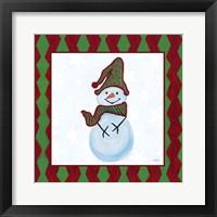 Framed Snowman Zig Zag Square III
