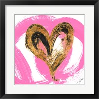Framed Pink & Gold Heart Strokes I