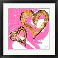 Framed Pink & Gold Heart Strokes II