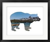 Framed Lake Scenery Bear