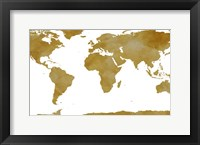 Framed World Map Collection Gold