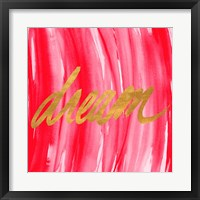 Framed Golden Words Watercolor Square III (red background)