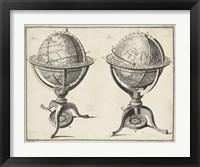Framed Antique Terrestrial & Celestial Globes