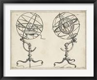 Framed Antique Armillary Spheres