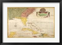 Framed Map of Carolina, Florida & the Bahama Islands