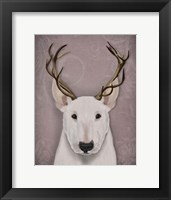 Framed Bull Terrier and Antlers