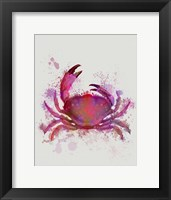 Framed Crab 1 Pink Rainbow Splash