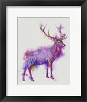 Framed Deer 1 Rainbow Splash Purple Pink