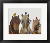 Framed Horse Trio with Flower Glasses