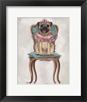Framed Pug Princess on Chair