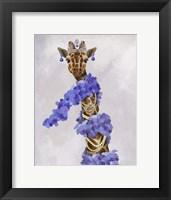 Framed Giraffe with Purple Boa