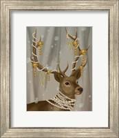 Framed Deer with Gold Bells