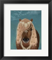 Framed Horse Brown Pony with Bells, Portrait