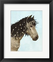 Framed Horse Buckskin with Jewelled Bridle
